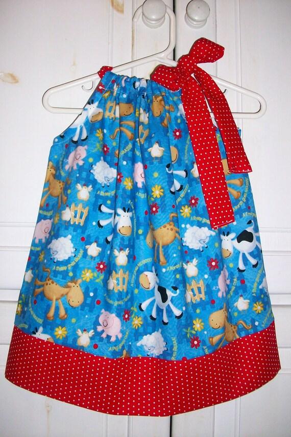 Pillowcase Dress FARM ANIMALS Blue Red DOTS Cow Pig Horse Sheep