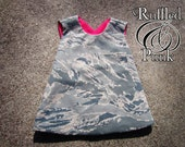 Girls Air Force Pinafore Top - Reversible Baby Girl Pinafore Shirt, Air Force ABU Shirt - Girls Camo Top - Baby Girl Clothing - Military Top