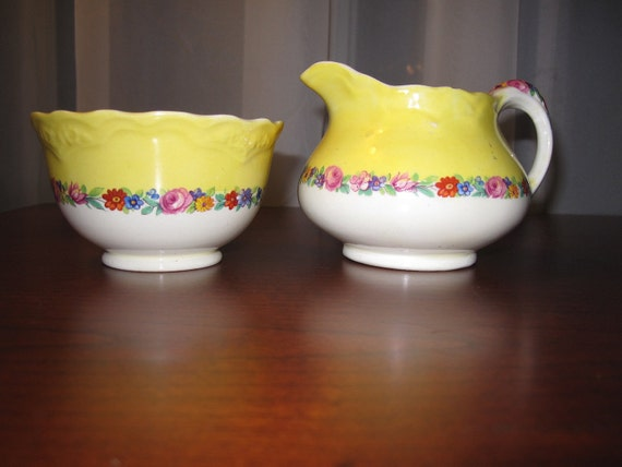Creamer and Sugar Old Hall Ivory Ware England