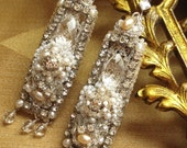 Giselaine Bridal Chandelier Earrings- Handmade Silver Lace, Crystals, Pearls
