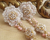 """Blush Pink Wedding Earrings / Floral Jewelry / Pastel Fashion / Pearls Rose Quartz Coral / """"Climbing Roses"""""""