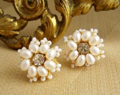 "Gold Stud Earrings / Dainty Lace Wedding Posts / Crystal Rhinestones / Ivory Pearls / ""Lys"""