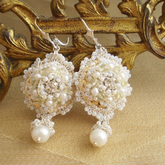 Reserved for Kathleen: Melilot Lace Wedding Earrings- Yellow Textile Earrings with Pearls, Rhinestones, Lemon Quartz--Spring/Summer 2011