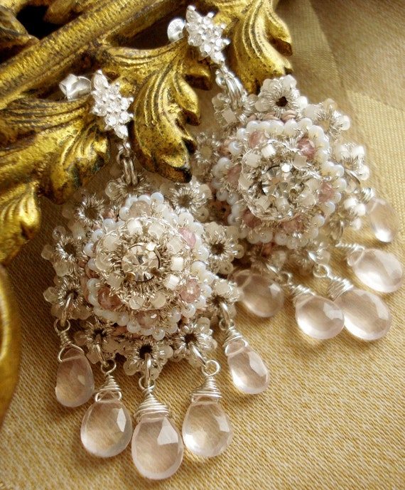 "Bridal Chandelier Earrings / Silver Lace Taupe Beaded Medallions / Rose Quartz / ""Athénaïs"""