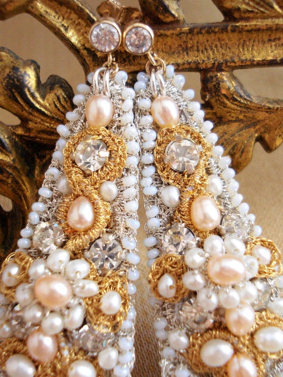 "Silver & Gold Earrings / Large Lace Bridal Chandeliers / Peach Ivory Pearls / ""Hélène"""
