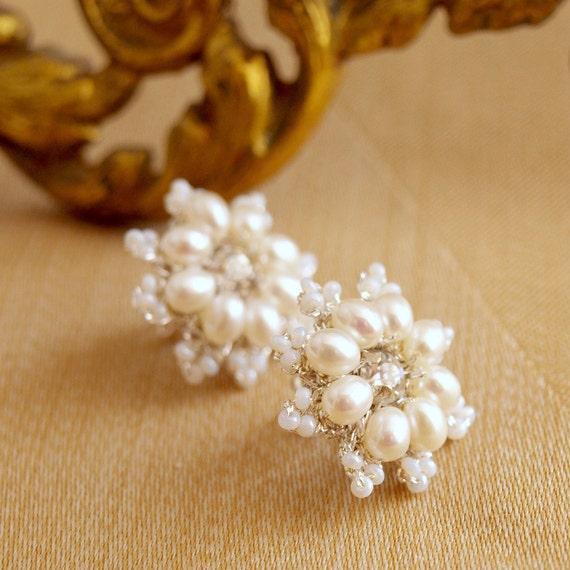 """Pearl Flower Post Earrings / Wedding Jewelry / Ivory Pearls, Vintage Rhinestones /  Floral Lace / """"Lys"""""""