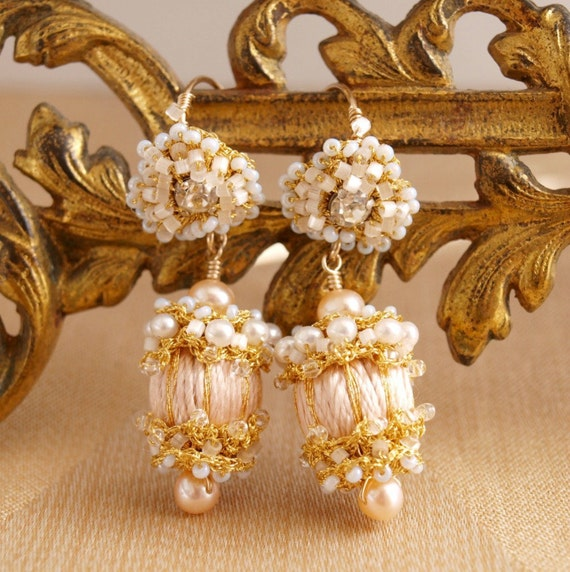 Reserved for Pascale- Final Payment on Peach Silk and Gold Lace Drop Earrings
