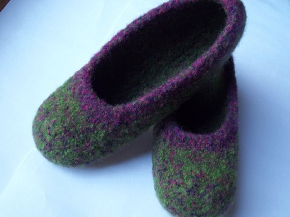 Felted Wool Slippers, Green and Purple, Sz 7 1/2 - 9
