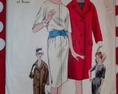 Vintage 1960 Misses Dress and Coat Pattern Vogue 1014 Couturier Designer Irene Galitzine, Size 12, Bust 32, Uncut