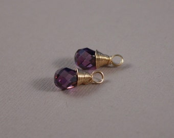 Dangles only - Violet Cubic Zirconia and 14K goldfilled wire