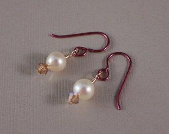 Pink Niobium earrings with freshwater pearls, handmade by EarthsOpulence
