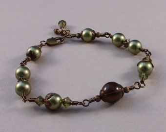 Vintaj brass bracelet with Smoky Quartz and Sage