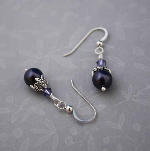 Sterling pierced earrings, Swarovski Dark Purple and Tanzanite