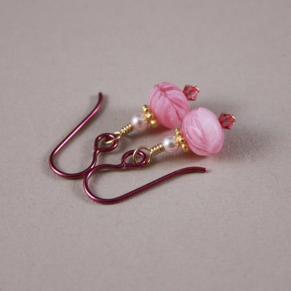 Niobium earrings pink niobium Ballerina Czech glass feminine