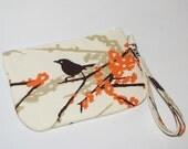 Wristlet / Padded Zipper Pouch - Sparrows