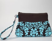 Deluxe Wristlet - Large with Pleats - Turquoise Damask