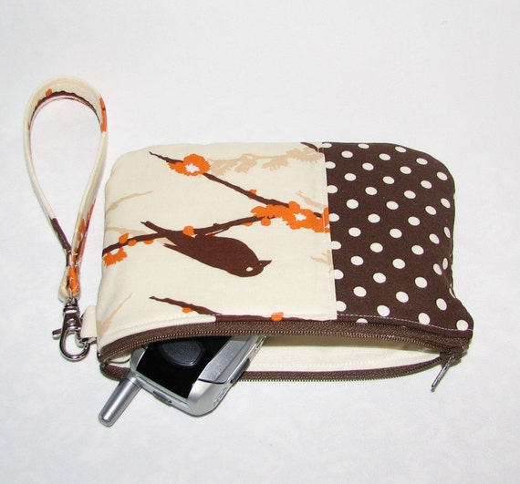 Padded Zipper Pouch \/ Wristlet- Sparrows and Brown Dots