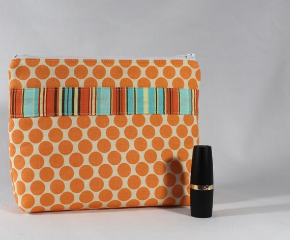 Orange Cosmetic Bag- Divided with 2 Compartments - Tangerine and Turquoise Dots and Stripes