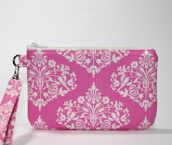 Pink Wristlet / Padded Zipper Pouch - Romantic Pink Valentine