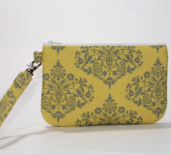 Wristlet / Padded Zipper Pouch - Classic Yellow Park Fountains