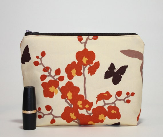 Divided Cosmetics Bag - 2 Compartments - Ginseng Orchids in Ivory