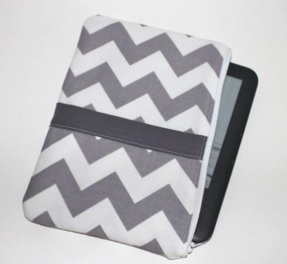 Kindle Fire Case / Kindle Keyboard Cover - Large - Padded eReader Case - Chevron Stripes in Grey