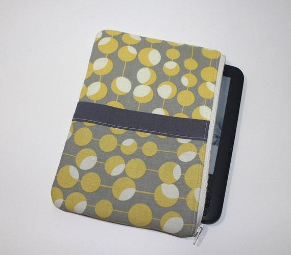 Kindle Fire Case / Kindle Keyboard Cover - Large - Padded eReader Case - Mustard Martini