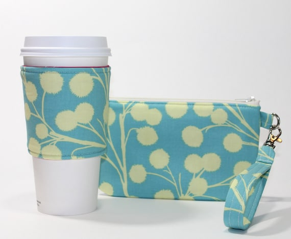 Coffee Break Gift Set - Wristlet and Reversible Coffee Sleeve - Aqua Branches