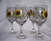 Sunflower wine glasses (4)