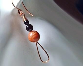 Indian Summer Earrings, Adventurine, Copper