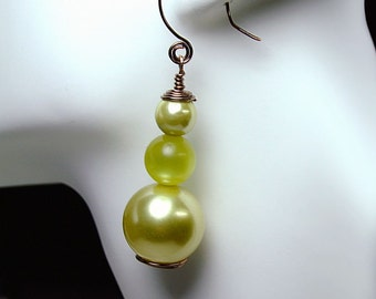 Copper N Minty Green, Artisan Wire, Vintage Faux Pearls