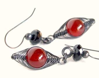 Touch of Romance Earrings, Carnelian, Antiqued Copper