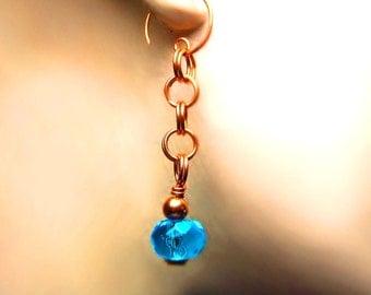 Deep Blue Sea Earrings, Hydro Quartz, Copper