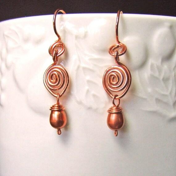 Copper Curls Earrings, Copper, Pearls