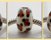 A Bead is Born handmade lampwork bead fits common European charm bracelets sterling silver core