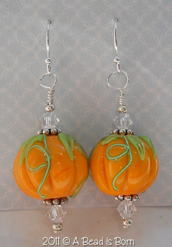 A Bead is Born handmade lampwork glass pumpkin bead earrings harvest Halloween sterling silver swarovski crystals