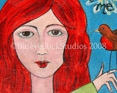 NeW old stock relist A Little Bird Told Me  RedHead Robin original mixed media Painting blueyeduckstudios On Sale
