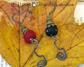 Blackberry Red Raspberry Jammin Orbs wild wooly mixed media felted balls and metal earrings