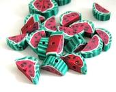 Watermelon Beads Fruit Polymer Clay Slice Beads 483