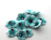 Wildflower Beads, Polymer Clay Beads, Pale Mint Beads 10 pieces
