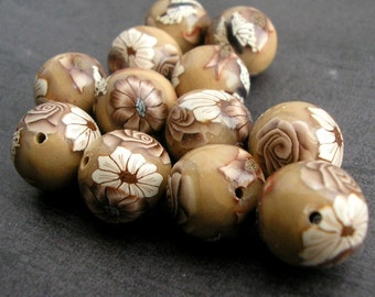 Light Brown Beads, Round Polymer Clay Bead Dozen, Brown Rose, Flowers - Made to Order
