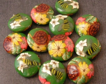 Forest Flower Beads,  Lentil Beads, Polymer Clay Bead Dozen - Made to Order