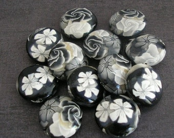 Black and White Beads, Polymer Clay Beads, Lentil Flower Beads - Made to Order