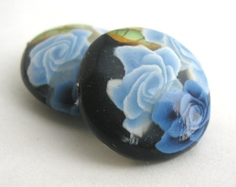 Navy Blue Rose Beads, Polymer Clay Beads, Lentil Bead Pair Winterflower 361
