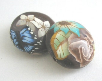 Polymer Clay Beads,  Lentil Beads, Brown Rose, Turquoise Flower Pair 2 Pieces