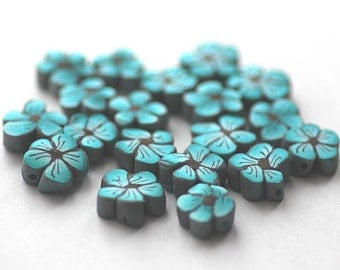 Polymer Clay Flowers Turquoise Daisy Slice Beads 507