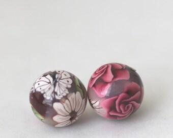 Polymer Clay Beads, Round Beads Roses on Crimson Set, Bead Pair