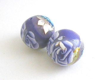 Polymer Clay Beads, Round Beads, Lavender Fields Set 237