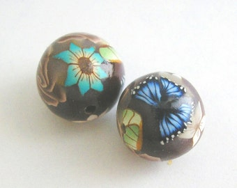 Polymer Clay Beads, Flower Round Beads Pair, Deep Brown 677