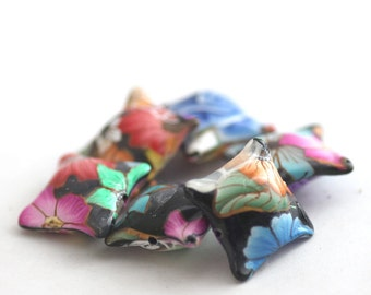 Floral Explosion Beads, Polymer Clay Pillow Beads Set 6 Pieces